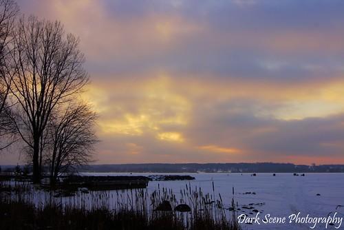 winter snow ontario ice water sunrise river fishing sony trenton sonya500