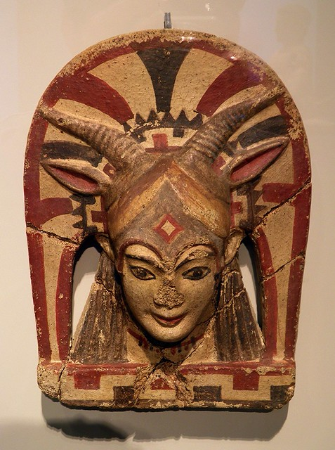 Etruscan roof terracota antefix with the depiction of the goddess Juno Sospita, 500 BCE, Altes Museum, Berlin