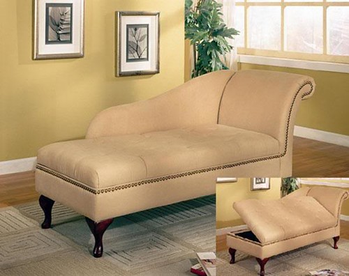 550058 Tan Chaise with Storage $329.00