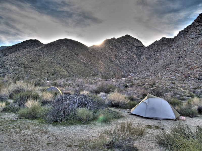 HDR photo of tents near the mouth of Cougar Canyon