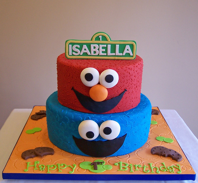 Elmo and Cookie Monster Cake  This is a 2-tier version of a ...
