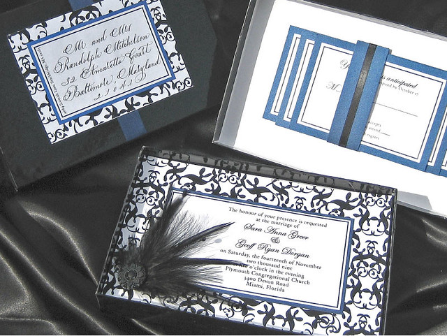 Black and Sapphire Blue Feather Wedding Invitation