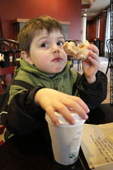stopping at a coffee shop for hot chocolate and a do…