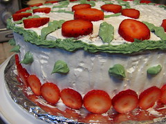 cake, cassata, strawberry, baked goods, whipped cream, fruit cake, fruit, food, dish, dessert, cuisine,