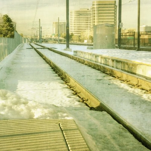 winter snow canon fence buildings square afternoon officebuildings rails lightrail traintrack textured dtc trainstop denvertechcenter southdenver texturesquared t1i