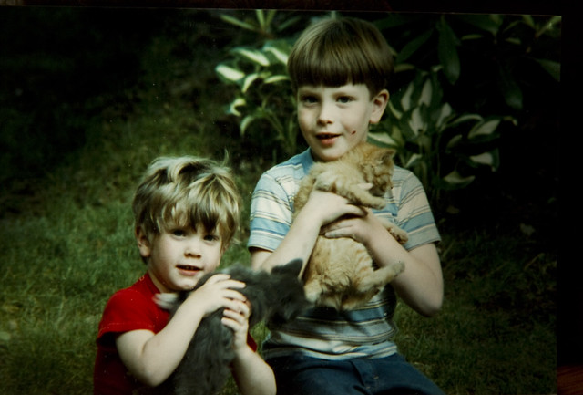 Stephen and Will with Tom and Tippy; Wakefield, MA circa 1984