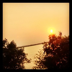 #sunset #trees #nature #evening #river #orange #sky #green #instapic #india #krishna #river #water #scenic #peace