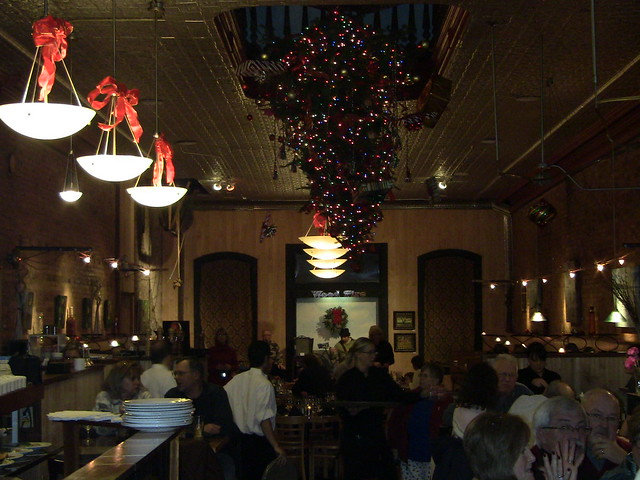 Upside down christmas tree wood fire restaurant dowagaic