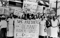 Women pressers on strike for higher wages