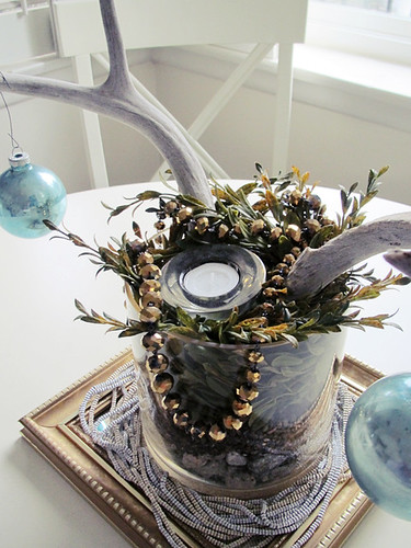 antlers and beads and vintage teal ornaments +holiday decor
