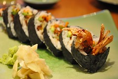 california roll(0.0), meal(1.0), sushi(1.0), gimbap(1.0), food(1.0), dish(1.0), cuisine(1.0), asian food(1.0),