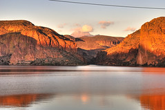Salt River, Canyon Lake, and Four Peaks at Sunset