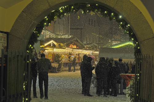 snowfall at christkindlmarket