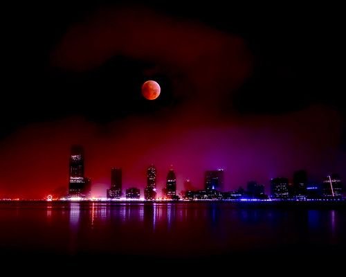 Jersey City, New Jersey and the 2010 Lunar Eclipse by mudpig