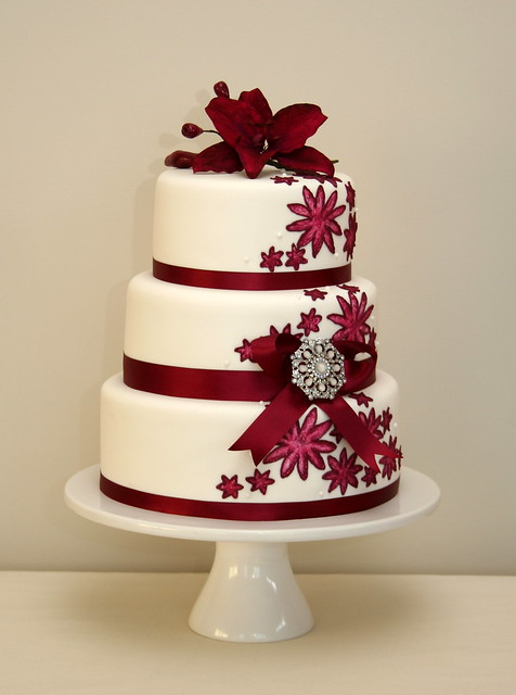 Maroon And Black Wedding Cakes