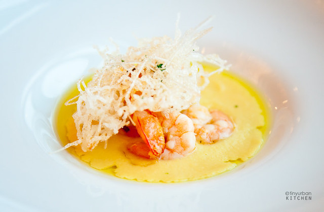 red shrimp bunch with corn soup