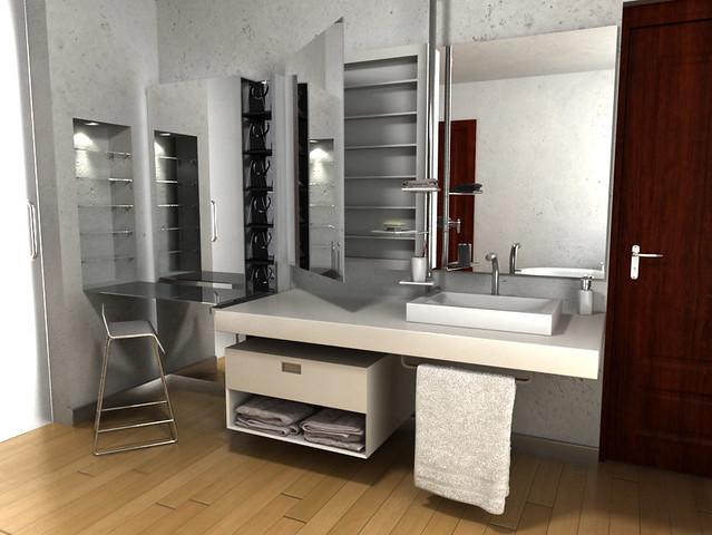 Accesorios De Baño De Acero Inoxidable:Diseño de Muebles para Baño Resina y Acero Inoxidable