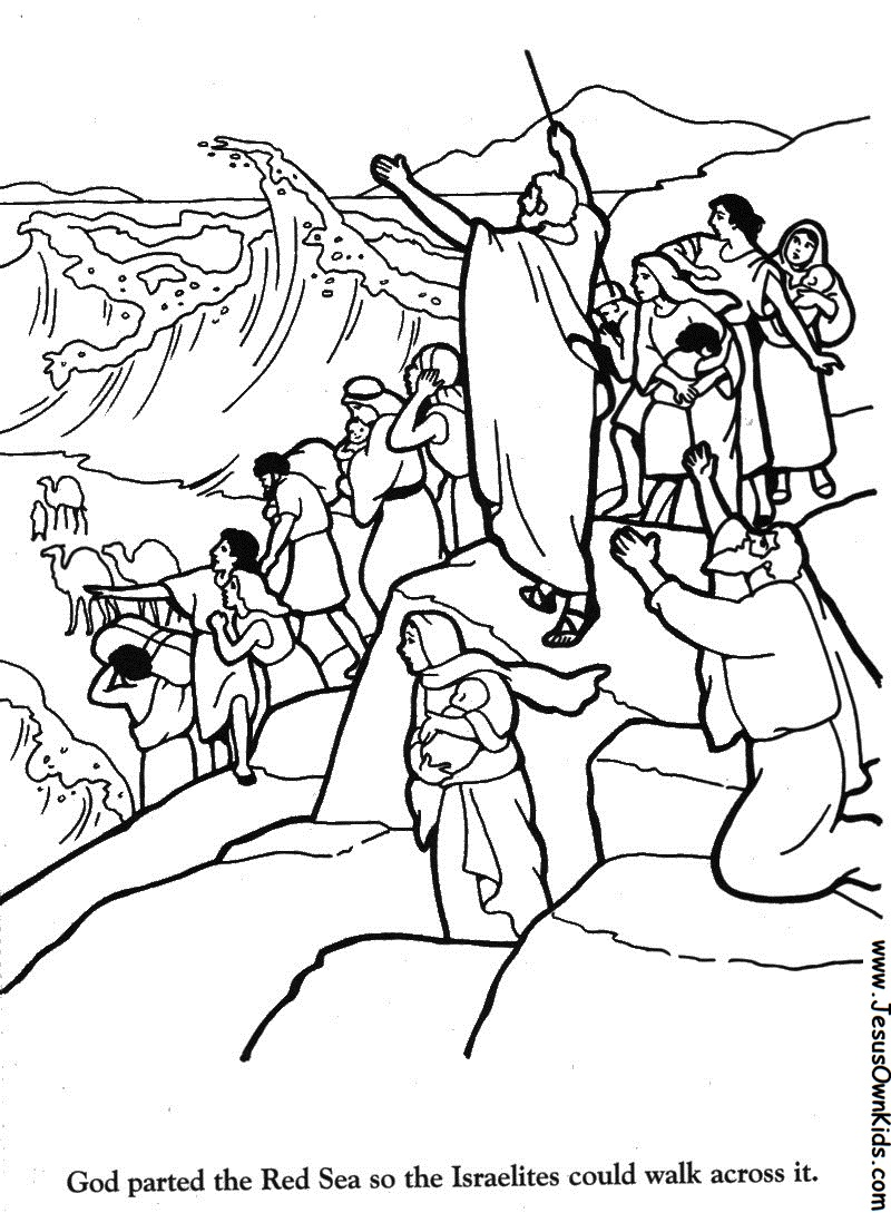 Free coloring pages of moses and the red sea for Crossing the red sea coloring page