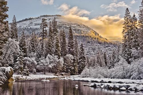snow water creek sunrise yosemite dome snowontrees wawona itwasfreakingcold idontrecommendlyingdowninthesnow bhphotocoldcontest