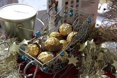 christmas decoration, food, gift basket,