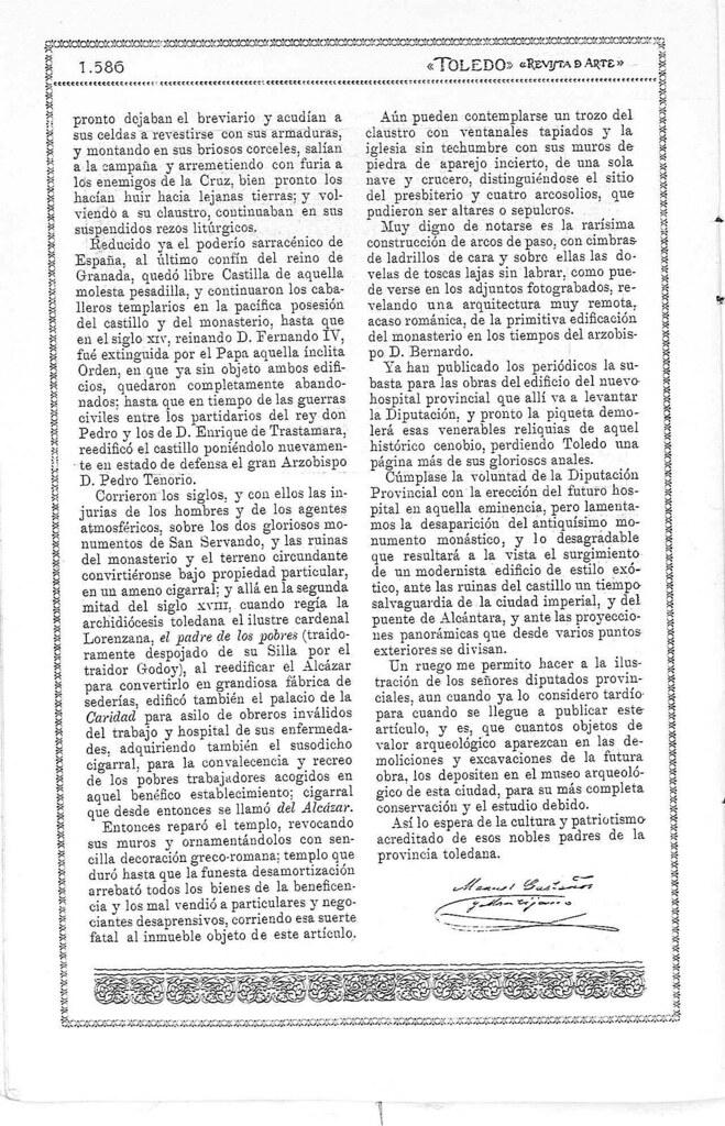 Reportaje sobre los restos del antiguo monasterio de San Servando en Toledo. Reportaje publicado en enero de 1927 en la Revista Toledo. Pág 3