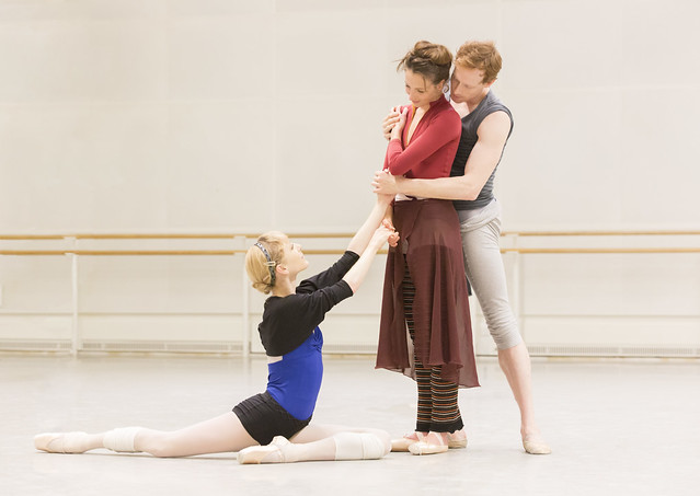 Sarah Lamb, Lauren Cuthbertson and Edward Watson in rehearsal for The Winter's Tale © ROH/Johan Persson, 2014