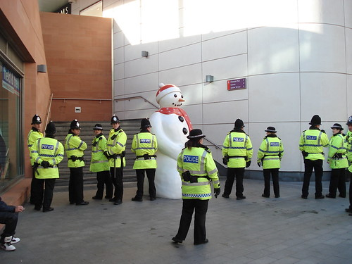 Police suspect student is hiding inside giant snowman.