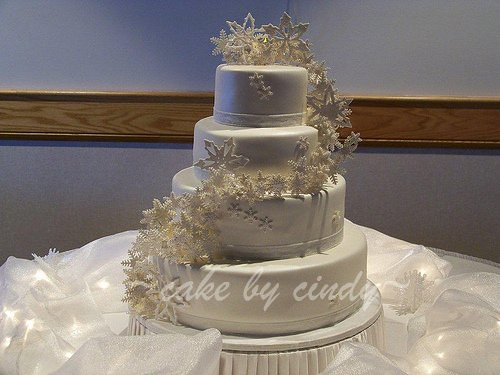 Glitter Snowflake Wedding Cake