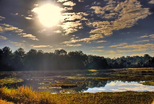 sky lake reflection nature water clouds sunrise georgia albany hdr doughertycounty thesussman sonyalphadslra200