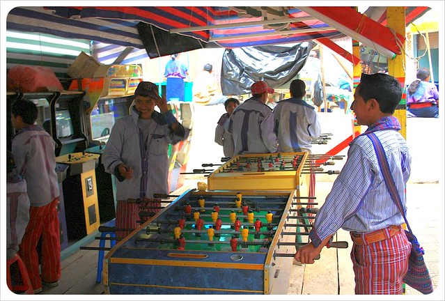 Todos Santos Mayan boys playing table soccer