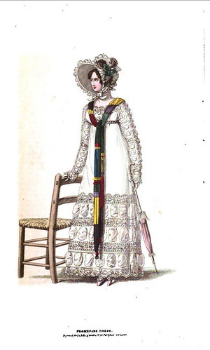 1818 Regency Fashion Plate - Promenade Dress  (La Belle Assemblee Magazine)