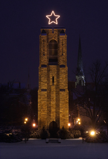 Baker Park bell tower after snowfall