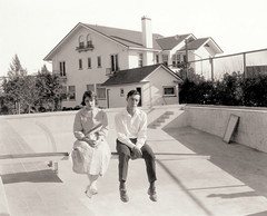 Buster Keaton and Viola Dana at their Hollywood home, ca. 1920