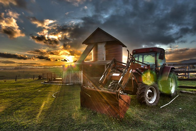 farm sunset