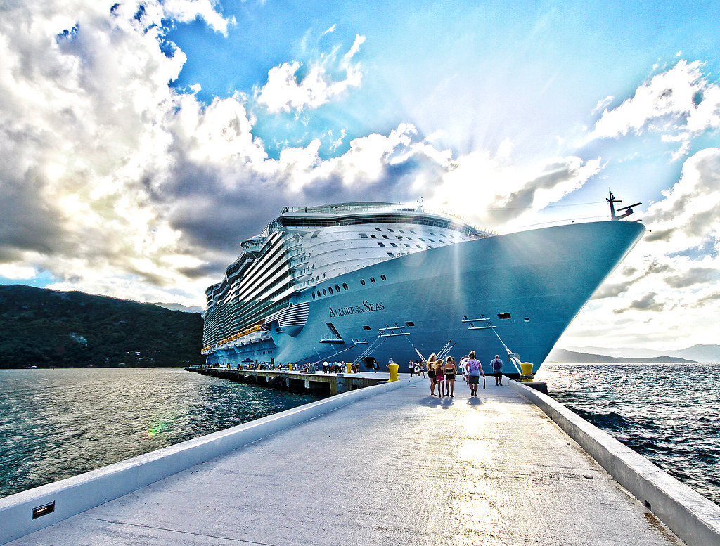 RCCL Allure of the Seas - Labadee pier at sunset