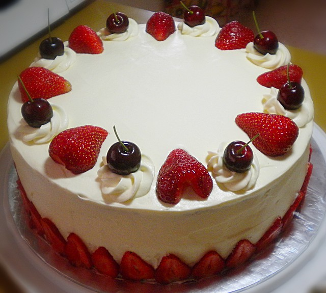 Chocolate chiffon cake with strawberries and cherries | Flickr - Photo ...