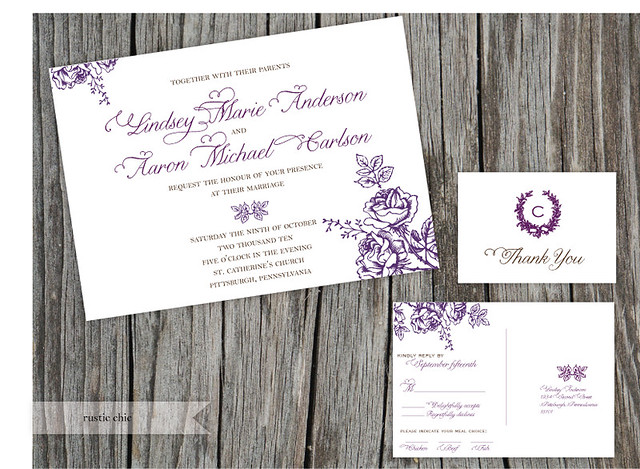 Rustic Chic Floral Wedding Invitation Featuring woodcut flowers against a