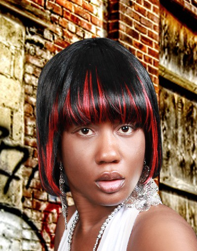 bob hairstyle with red highlights | Flickr - Photo Sharing!