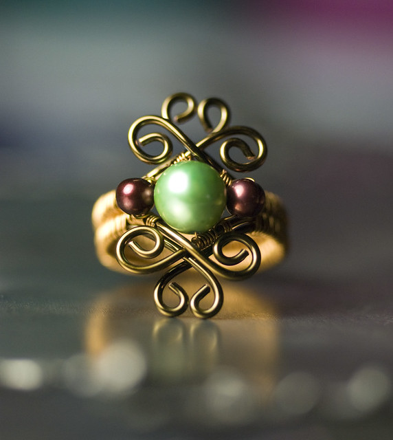 Mint Green and Cranberry Freshwater Pearl Bronze Ring by Moss & Mist Jewelry