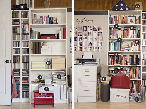 Decluttering our bookshelves a before after paislee - Declutter before and after ...