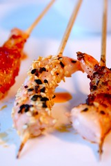 hors d'oeuvre(0.0), fish(0.0), sushi(0.0), meat(0.0), brochette(1.0), food(1.0), dish(1.0), yakitori(1.0), cuisine(1.0), skewer(1.0), satay(1.0), grilled food(1.0),