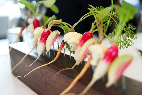 fresh veggies on pointy things