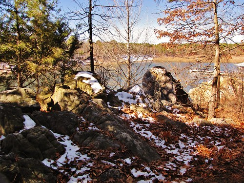 park travel trees winter usa white lake snow nature water rock forest canon daylight leaf rocks view stones south country peaceful powershot hills daytime arkansas geology ozarks tranquil greersferrylake sx10is waltphotos