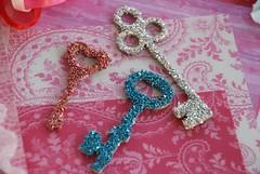 vintage German glass glittered keys