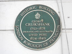 Photo of George Cruikshank green plaque