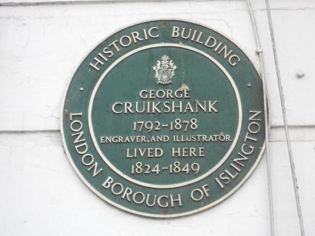 George Cruikshank green plaque - George Cruikshank 1792-1878 engraver and illustrator lived here