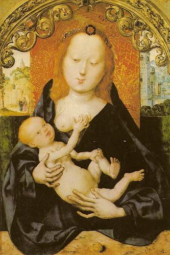 Meister des Bartholomäus-Altar -  Madonna mit der Nuss  - s.d. (Wallraf Richartz-Museum, Köln)