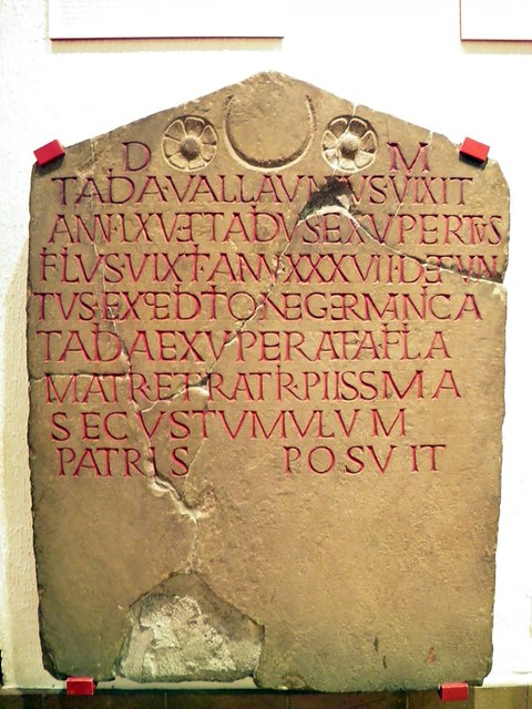 Gravestone of Tadia Vallaunius and Tadius Exuperatus, National Roman Legion Museum