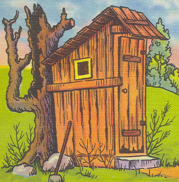 Hillbilly Maw Proud Of New Outhouse Or As She Calls It The