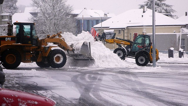 Clearing the parking spaces in Langendorf